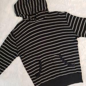 Kayden K. Black & Gray Striped Hoodie Large